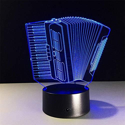 Akkordeon 3D Lampe Led Visuelles Licht Akkordeon Modell 3D Schreibtischlampe Usbpowered Schlafzimmerlampe Berühren Sie Schalter