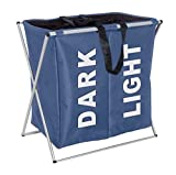HOMIES INTERNATIONAL Brings 1 piece Multipurpose European Style Foldable X Shape Frame 2 Compartment Laundry Bag for Dark and Light clothes / Hamper / Basket with Lid and Drawstring Closure. Metal Frame with Removable Canvas Bag. Size: 22 X 24 X 13 inches. Blue