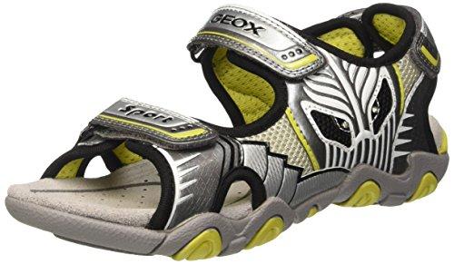 Geox Jungen JR Sandal Strike B, Grau (Grey/LIMEC0666), 29 EU