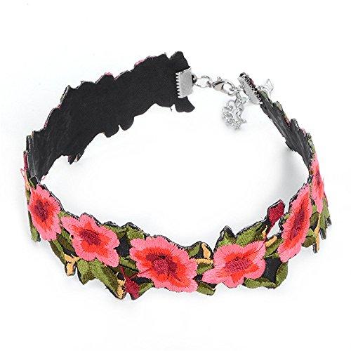 QXLDM Frauen Schmuck Halskette Necklaces halsketten Halskette Vintage ethnische Art Stoff Rose Stickerei Halskette Kragen Kleinwaren -