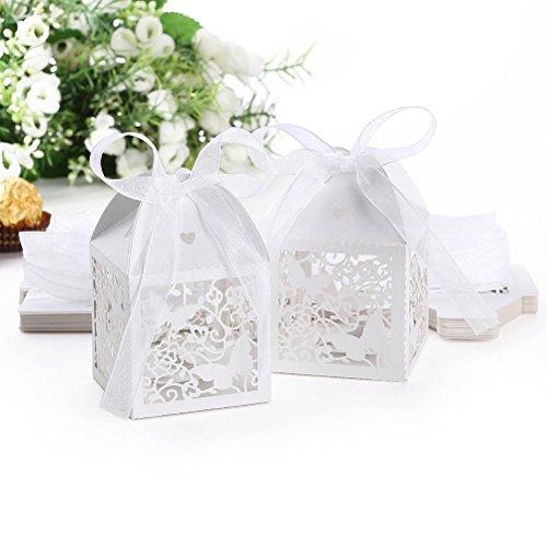 & Tinksky Hollow romantica farfalla matrimonio favore scatole Nastri Bomboniere regalo scatole 50pcs (bianco) prezzo