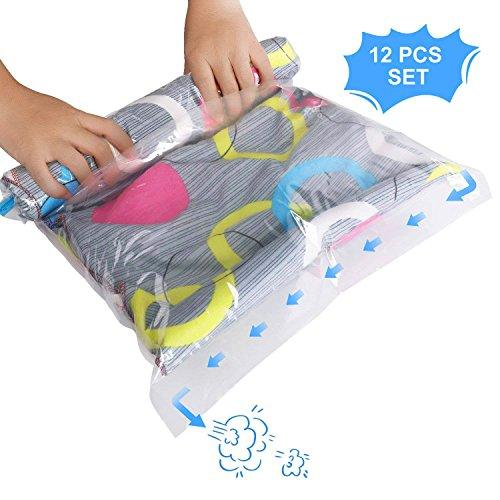 Kleider Vakuumbeutel zum Rollen per Hand | 12er Set 4 verschiedene Größen | Reise Vakuum Kleiderbeutel Aufbewahrungsbeutel Platzsparer Vakuumtüten Vakuumsack für Kleidung Bettwäsche Bettdecken Matratzen | Keine Pumpe Benötigt