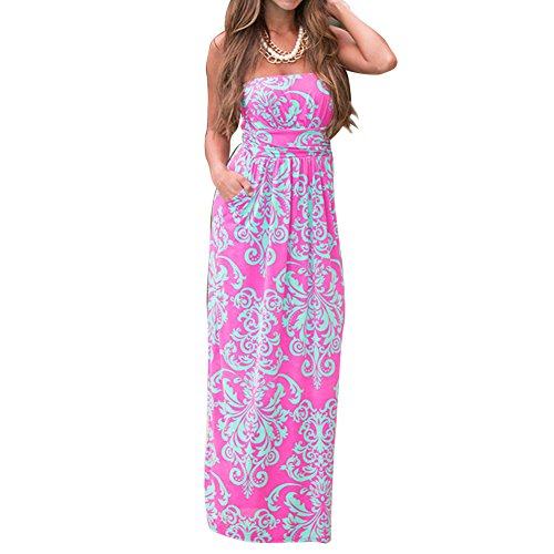 Damen Maxikleid Bandeau Sommerkleid Blumenmuster long Dress Kleid Schulterfrei Rosa