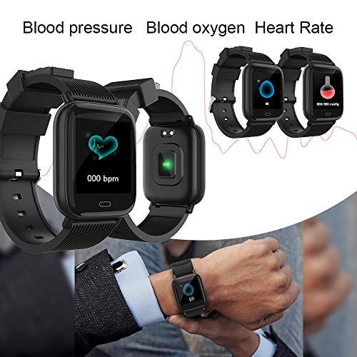 Imagen de ayete smartwatch fitness tracker con frecuencia cardíaca monitoreo de la presión arterial salud deporte reloj impermeable ip67 reloj de pulsera cámara remota pulsera inteligente negro  alternativa