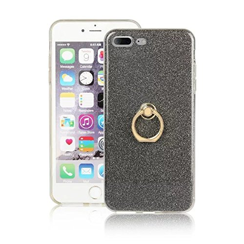 Hülle für iPhone 7 plus , Schutzhülle Für IPhone 7 Plus (5,5 Zoll), Luxus Bling Sparkle Style Case, Soft TPU [Silikon] Flexible Glitter Rückseitige Abdeckung mit Fingerring Stand [Anti Scratch] [Shock Black
