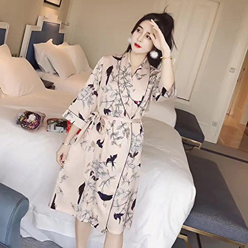 Seide Charmeuse Kleid (GHFDSJHSD Frauen Pfau Premium Dressing Nightgown Bademantel Kleider Robe Satin Seide Feel Gift Loungewear, f)