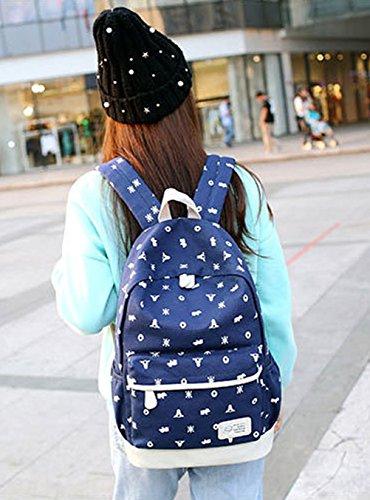 Keshi Leinwand Cool Schulrucksäcke/Rucksack Damen/Mädchen Vintage Schule Rucksäcke mit Moderner Streifen für Teens Jungen Studenten Mehrfarbig 4
