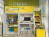 Kinderzimmer Vita 41 Hochbett mit Treppe viel Staurraum, integrierter Schreibtisch, Kleiderschrank, freie Farbwahl