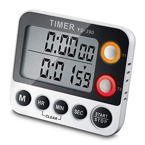 CEEBON Digital-Timer bis 100Stunden, 2-in-1-Funktion mit Timer und Stoppuhr, großes LCD-Display, lauter Alarm und Magnethalterung
