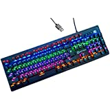 LT Mechanical Keyboard Gaming Keyboard 104 Key RGB LED Illuminated Keyboard Backlit Computer PC Gaming Keyboard With Macro Keys, Wrist Rest And Blue Switches Equivalent