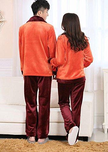 LJ&L Coppie pigiama traspirante pigiama sciolti servizio a domicilio flanella maniche lunghe pantaloni comfort di alta qualità accappatoio,Men,XXXL Men