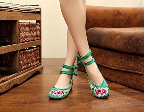 Doppelgürtel amp;hua Weibliche Leinen Sehnensohle Green Bequem Ethnischer Schuhe Mode Stil Gestickte HqpzHxf