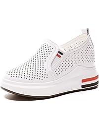 SBL Zapatos de Verano para Mujeres aumentados con Zapatos Casuales Cómodos de Cuero Femenino,C69 Blanco Rojo,34