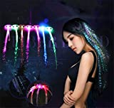 2x Demarkt Hair Clip Shining LED Light Up Hair Extensions Girls Stocking Filler Clip Pony Tail Fibre Optic (in Random Colors)