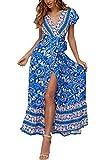 Ajpguot Vestido de Verano Mujer Impresión Maxi Vestidos de Playa Elegante Beachwear Largo Dress con Cinturón Sexy V-Cuello Manga Corta Hendidura Vestido de Partido (S, Color Azul)