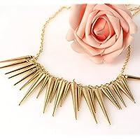 Mieoson Studded Halskette, kreative Vintage Frau Surge Rivet Quasten Anhänger Kette für Party, Golden by