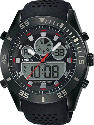 Lorus Mens Digital Quartz Watch with Silicone Strap R2335LX9
