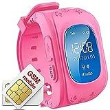 Hangang Rastreador GPS para niños Smartwatch Niños Anti-erra SOS Calling Buscador de niños a prueba de agua Rastreo en tiempo real, reloj Smart Kids Compatible con teléfonos inteligentes (Rojo)