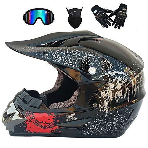 VISTANIA Adult Motorradhelm Gear Combo Motocross Helm ATV Helme Off Road Helm Dirt Bike Motorrad-Getriebe Combo