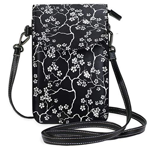 ZZKKO Mini-Umhängetasche/Handtasche mit Kirschblütenmuster, Schwarz und Weiß -