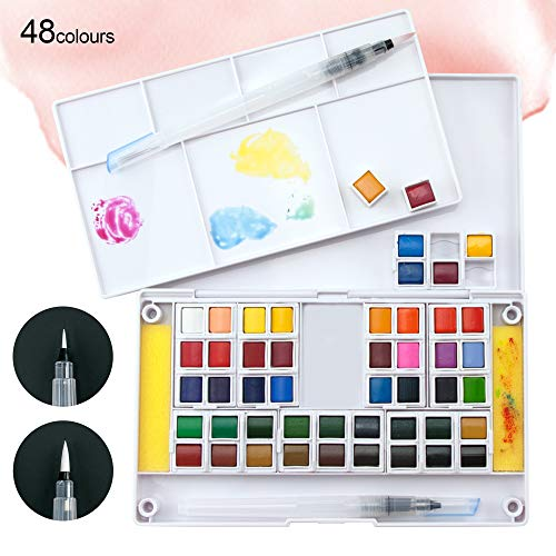 Set de Acuarelas 48 Pastillas de Colores - Perfecto para artistas, estudiantes o aficionados - Caja de pinturas de acuarela con una paleta para mezclar, 2 pinceles de agua y 2 esponjas - Ezigoo