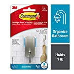 Command BATH33-SN-ES Bath Small Hook, Satin Nickel, 1-Hook, 2-Small Water-Resistant Strips