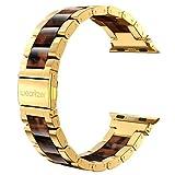 Wearlizer für Apple Watch Armband 42mm 44mm, Edelstahl Metall Harz iWatch Straps Ersatzband Uhrenarmband Wristband für iWatch Serie 4 Serie 3 Serie 2 - Blank Gold