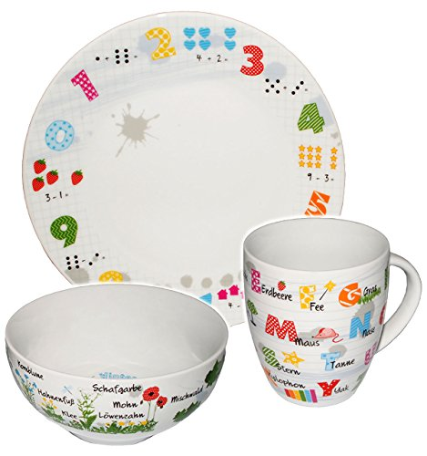 3 teiliges  ABC Kindergedeck mit Tiermotiven Könitz Porzellan Teller Tasse Müsli
