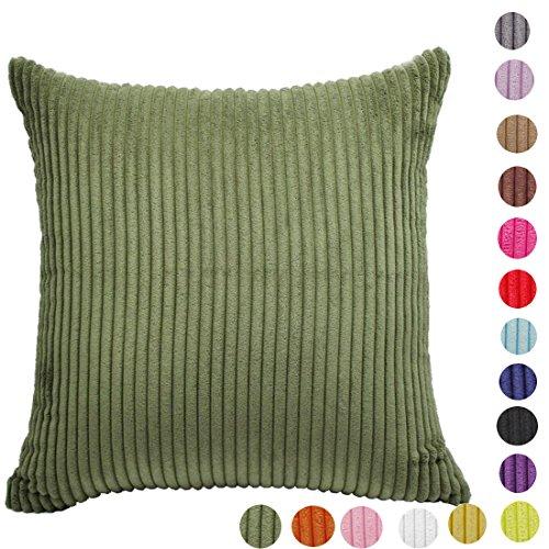 Home Dekorative Stripe Cord Kissenbezug Werfen Kissen Fall, 16Farben 10Größe wählen, armee-grün, 22