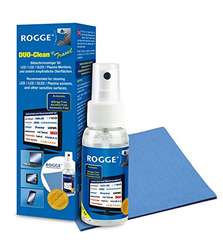 ROGGE DUO-Clean Travel Original 50ml Screen-Cleaner inkl. 2 ROGGE Prof. Microsaertuch, 19x20cm. (Touch-screen-reiniger)
