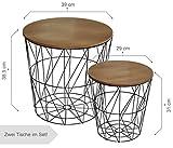 CALUTEA Moderne Beistelltische Rund / 2er Set/Drahtkorb / Metall Schwarz/Holz Design Braun