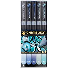 Chameleon Pen unidades 5rotuladores tonos de azul–Marker pantoni profesionales