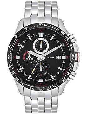 Stahlbergh Svendborg Herren-Uhr Chronograph 5 ATM schwarz / rot Edelstahl-Armband silber 10060109