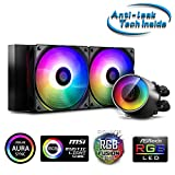 DeepCool Castle 240RGB V2 Kühlsystem Anti-Leak Heizstrahler 240 mm Dissipator RGB Rainbow Addressable 5V ADD RGB 3-Pin kompatibel Intel 115X/2066 und AMD TR4/AM4