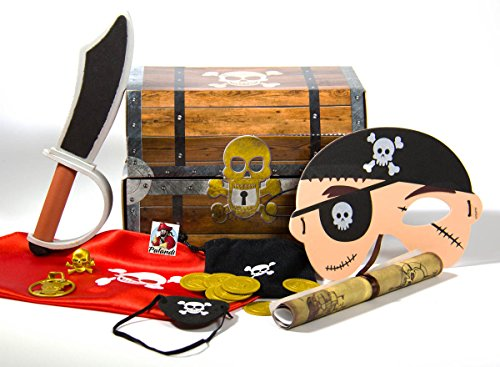 Piraten Schatzkiste Schatztruhe 15-teilig Piratenparty Mottoparty Mitgebsel Gastgeschenke mit Palandi® (Seidig Piraten Bandana)