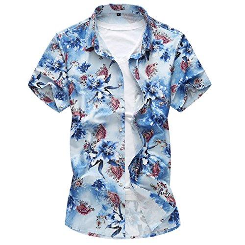 5dd1c1122d26 YOUTHUP Herren Sommerhemd Hawaiihemd Kurzarm Hemd Blatthemd Freizeit Hemd  Besonders für Reise Urlaub Blau