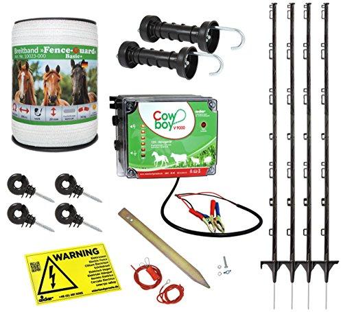 *Weidezaun Starterset für Pferde und Ponys – alles was Sie zum Zaunbau benötigen – beliebig erweiterbar – Weidezaungerät, Leitermaterial, Pfähle, Isolatoren, Anschlusskabel*