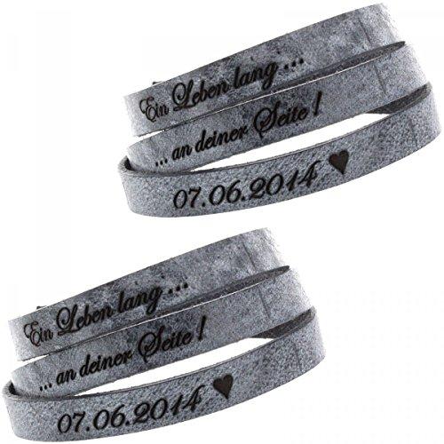 *Partner Armband aus Leder – 2er Set – in Farbe Grey – mit Geschenkverpackung – zwei Wunschtexte werden graviert – ideales Geschenk für Verliebte*