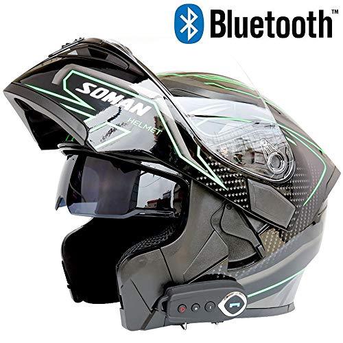 Leaf&Y Casco modulare Flip up Bluetooth, Casco Moto Fuoristrada Scooter Racing Crash Smart con Doppia Visiera, Music/FM/GPS Voice Navigation,L