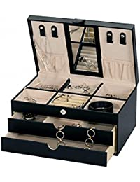 """ONE WEEK SALE - """"Victoria"""" Black Bonded Leather Jewellery Box by Mele & Co."""