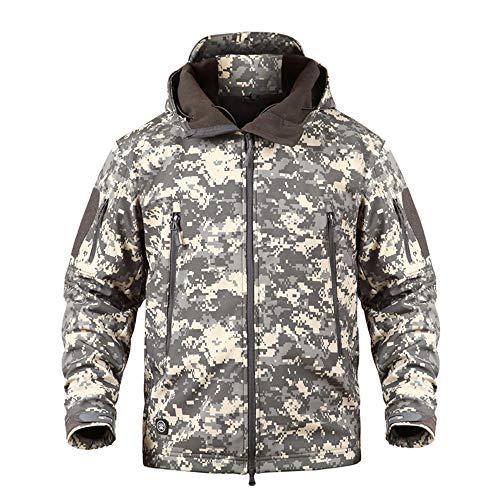 WLXW Herren Outdoor Sports Tactical Jacke, Camouflage Jagdanzug, Military Softshell Jacke Mantel, Atmungsaktive wasserdichte Haifischhaut, Camping Bergsteigen,ACU,XXXL -