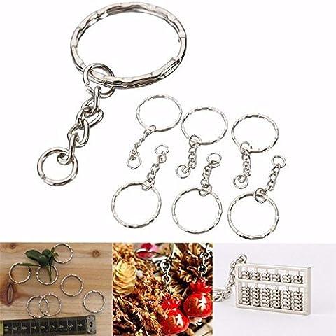 Schlüsselring MOHOO® 50Pcs Schlüsselring Blanks Silber Ton Schlüsselanhänger Schlüsselanhänger Split Ring 4 Gliederkette