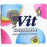 Vit - SalvaSpesa, Igienica Pura Ovatta di Cellulosa, 4 Rotoli