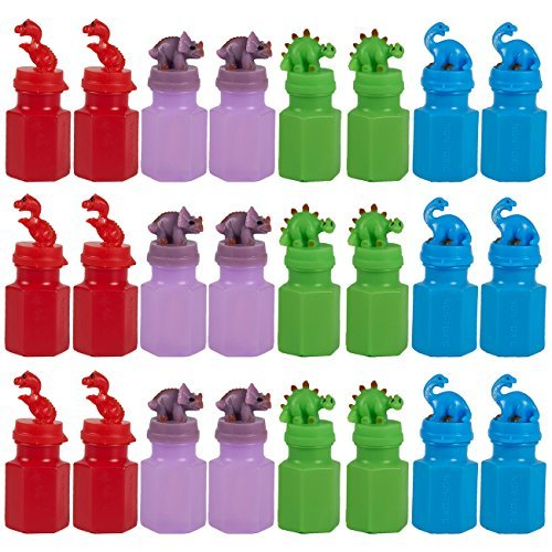 Blue Panda 24 Satz-Partei-Bevorzugungen für Kinder - Dinosaurier-Party Supplies - Spiele Bubbles - Seifenblasenring Party Supplies Mehrfarbig