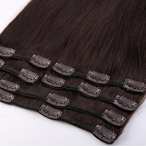 100{4624a72b6d9f90f8a06153f8088e71a4b5cab25513e09bf296b5eb2c5aac17f2} Remy-Echthaar Clip-In-Extensions für komplette Haarverlängerung 120g-60cm (#2 Dunkelbraun)