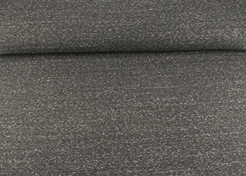 SK Stoffe Excellenter Baumwoll Sweat I Jogging Stoff Uni I schwarz - weiß Meliert ALS Meterware | Maße: 25 cm x ca. 145 cm | 1A ÖKO-TEX Qualität Standard | FKS Stoffe - Schwarze Sweat