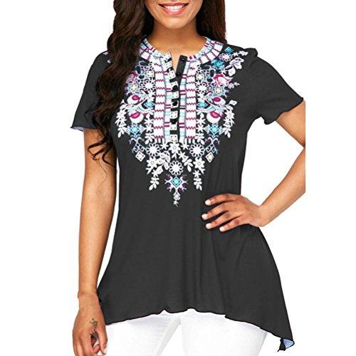(JUTOO Frauen O-Ausschnitt Printing Plus Size Kurzarm Bluse Top(Schwarz,EU:40/CN:M))