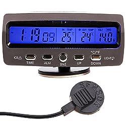 WINGONEER LCD Auto Digital Innen Außen Thermometer Spannungstester Voltmeter Spannungsmesser KFZ PKW Datum Uhr Alarm