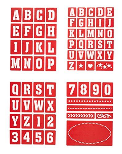 Kitchen Craft - Stencil per numeri e lettere per pittura su vetro, Set da 4 pezzi