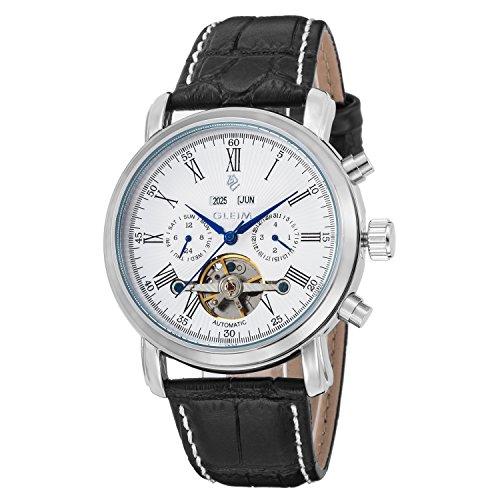 Gleim montre de tourbillon mécanique automatique pour homme Cadran blanc Bleu mains Calendrier Jour Date mois AN Affichage Bracelet cuir noir